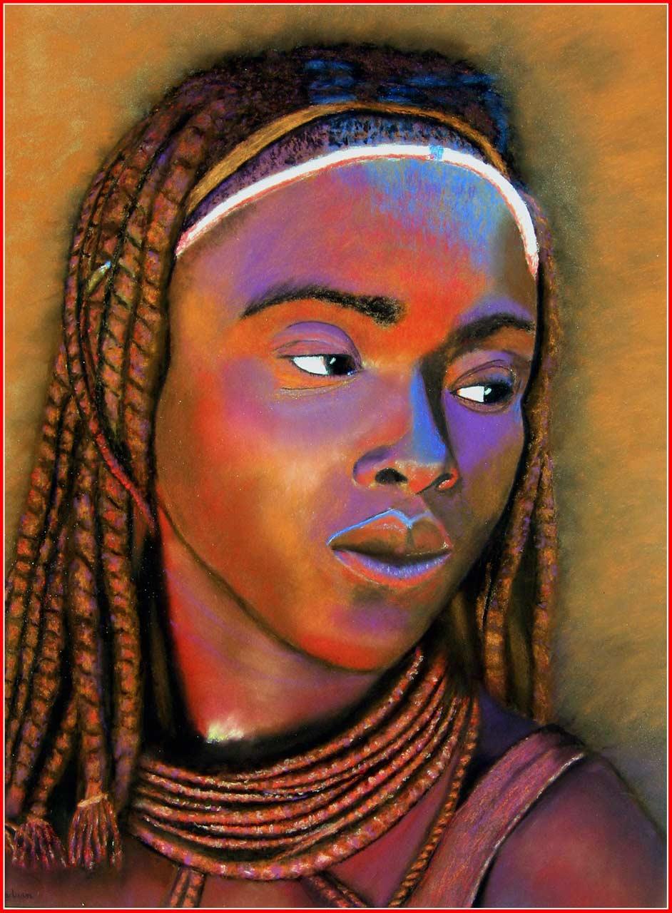 Femmes himbas réalisées avec des pastels secs
